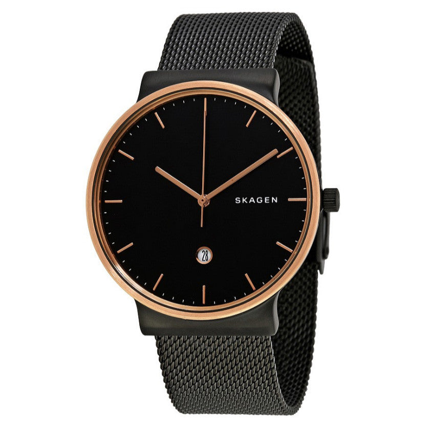 Ancher Black Stainless Steel Mesh Bracelet Men's Watch