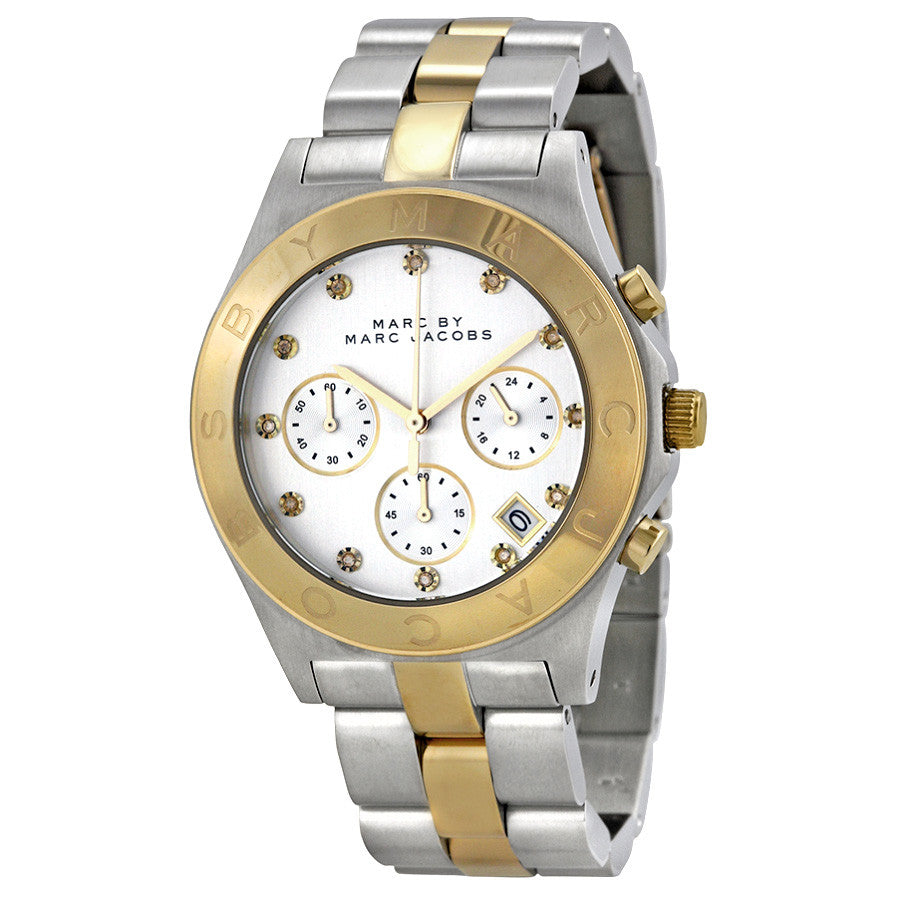 Blade Chronograph Silver Dial Two-tone Ladies Watch