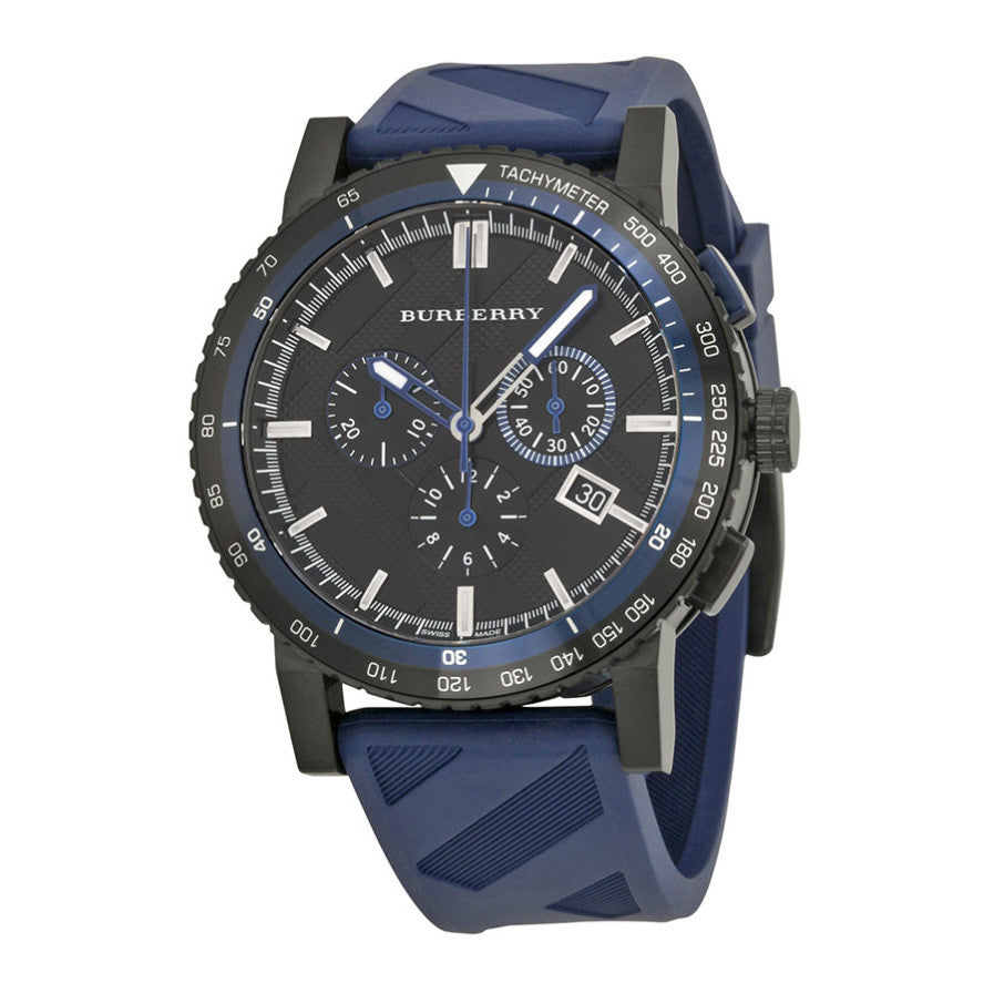 The City Sport Chronograph Black Check Stamped Dial Navy Rubber Men's Watch