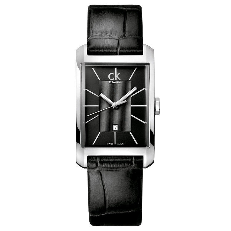 Window Black Leather Men's Watch
