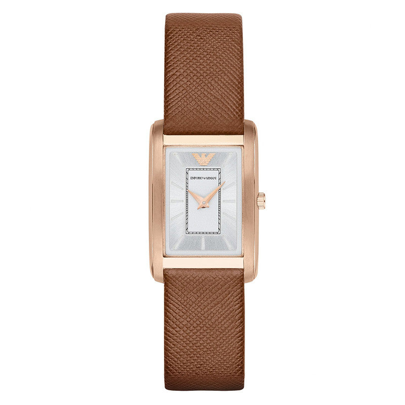 Classic Silver Sunray Dial Brown Leather Ladies' Watch