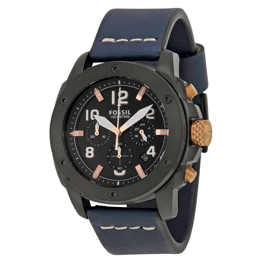 Modern Machine Chronograph Black Dial Blue Leather Quartz Men's Watch