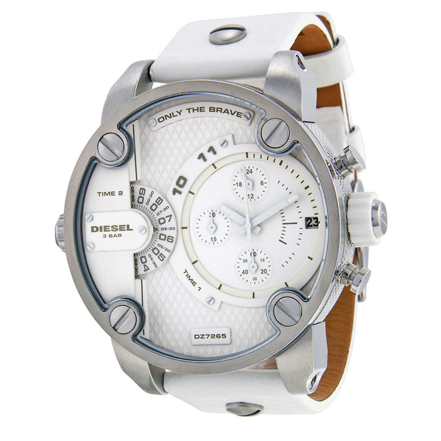 Little Daddy Chronograph White Dial White Leather Men's Watch