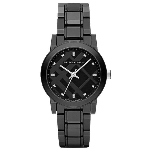 The City Diamond Markers Black Dial Black Ceramic Swiss Ladies Watch