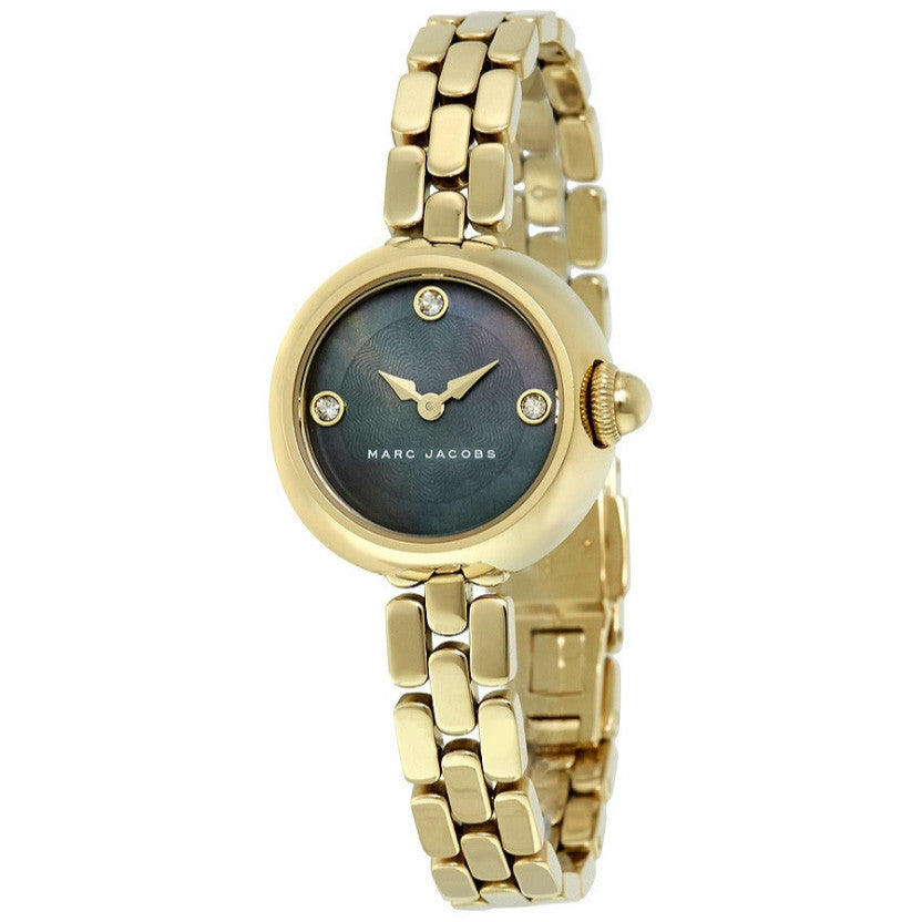 Courtney Black Dial Ladies Gold Tone Watch