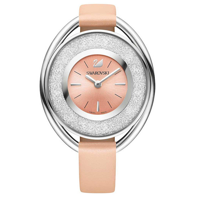 Crystalline Light Rose Dial Pink Leather Strap Ladies Watch
