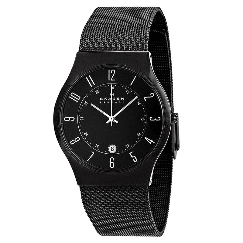 Black Dial Titanium Stainless Steel Mesh Men's Watch