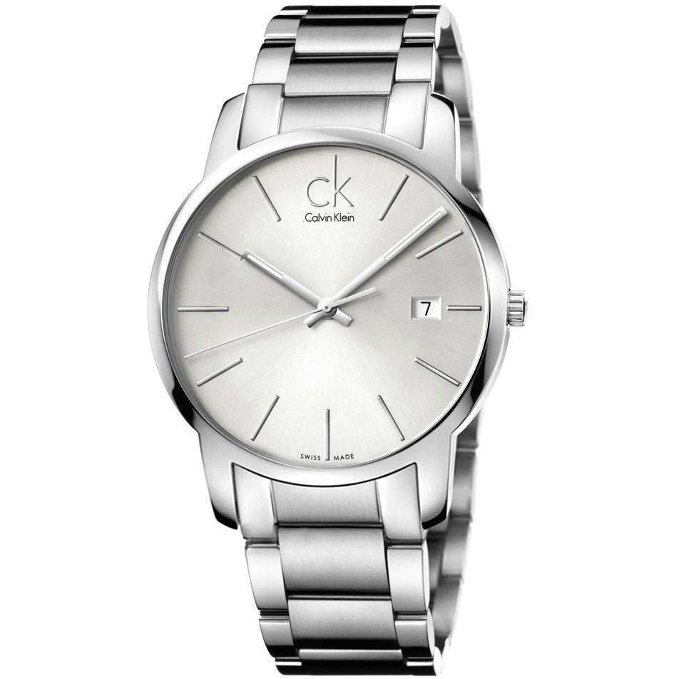 City Date White Stainless Steel Men's Watch