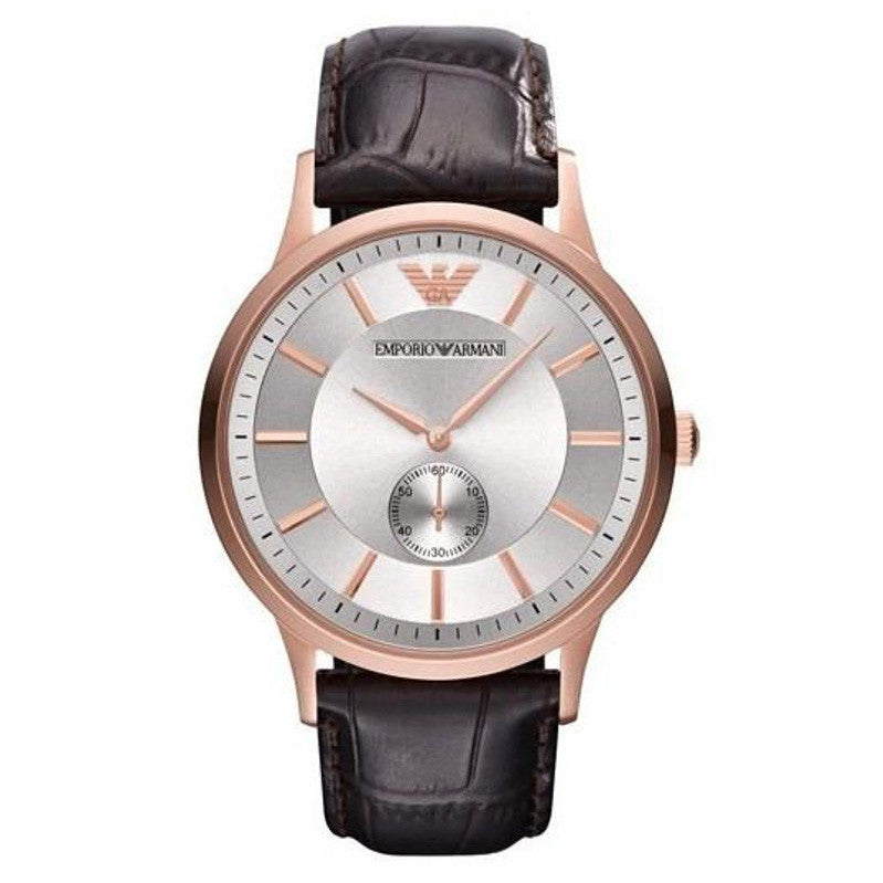 Silver Dial Rose Gold-tone Stainless Steel Men's Watch