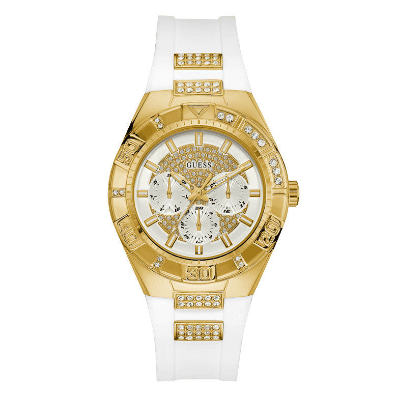 Luna Multi-Function Gold White Strap Ladies' Watch