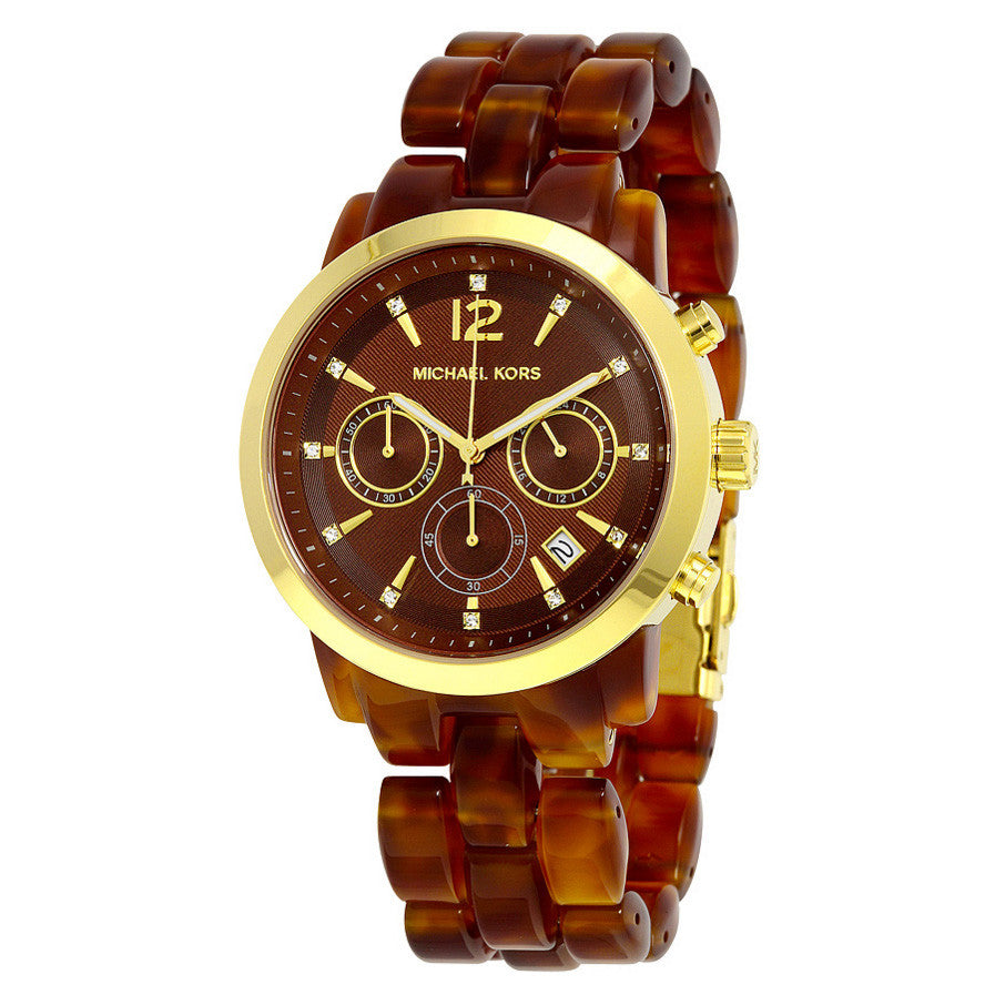 Audrina Chronograph Brown Amber Dial Brown Amber Acetate Ladies Watch