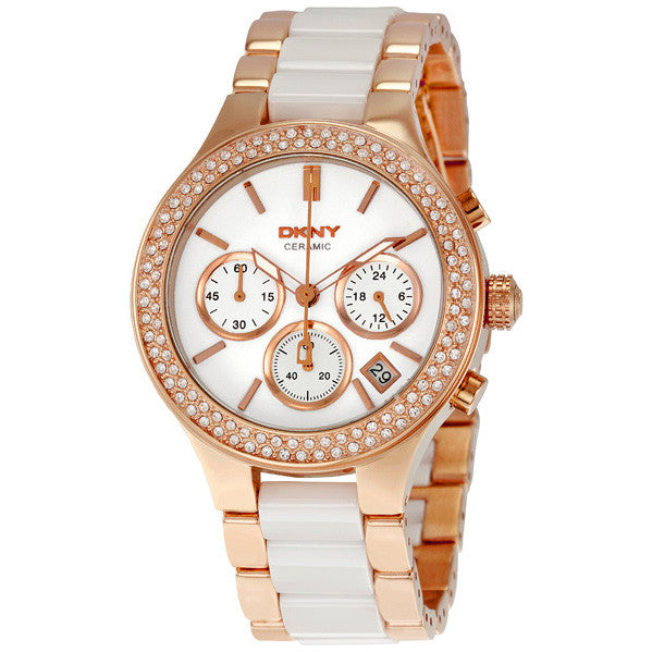 Ceramic Link Rose Gold-plated Ladies Watch