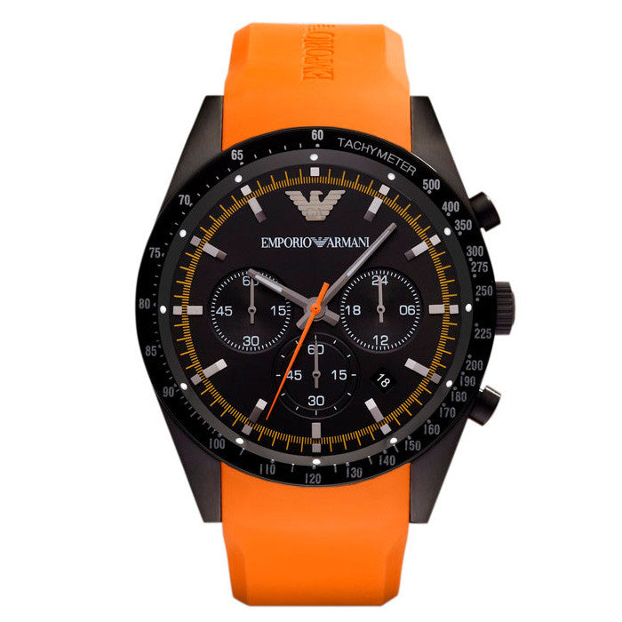 Sportivo Chronograph Black Dial Orange Rubber Men's Watch