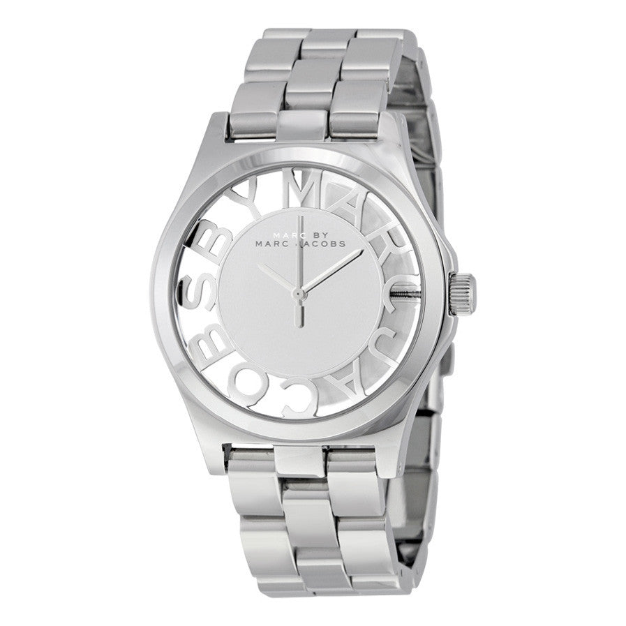 Henry Skeleton Silver Dial Stainless Steel Ladies Watch