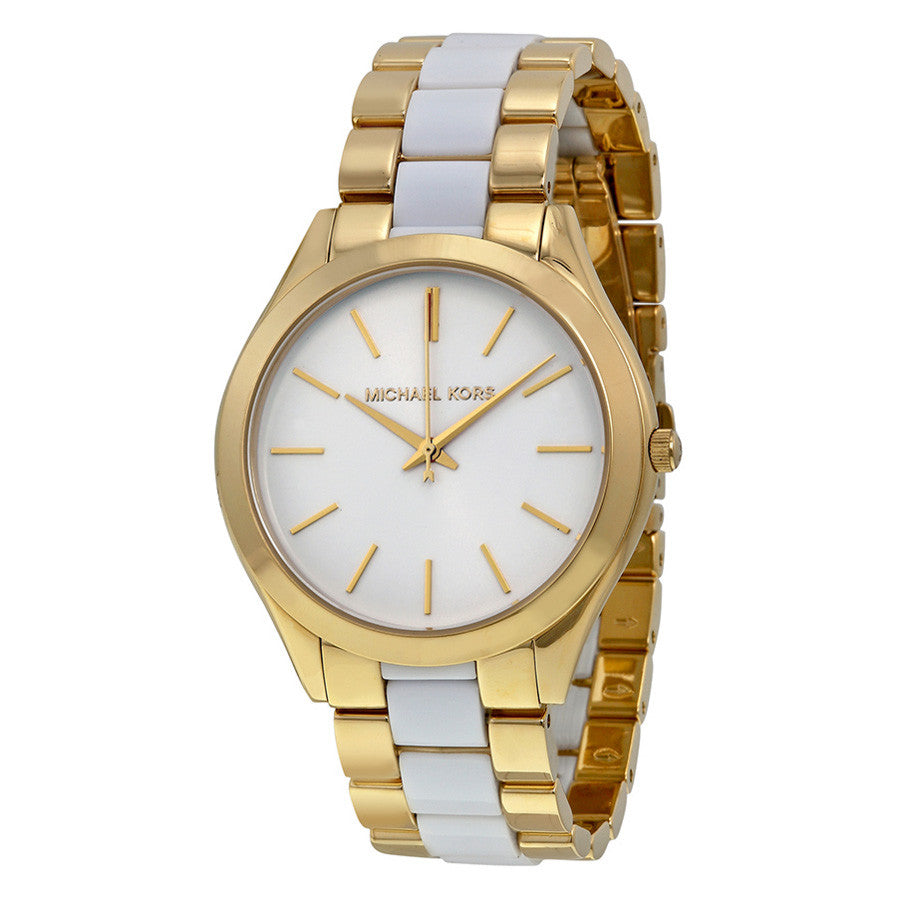 Slim Runway White Dial Gold-tone and White Accetate Watch