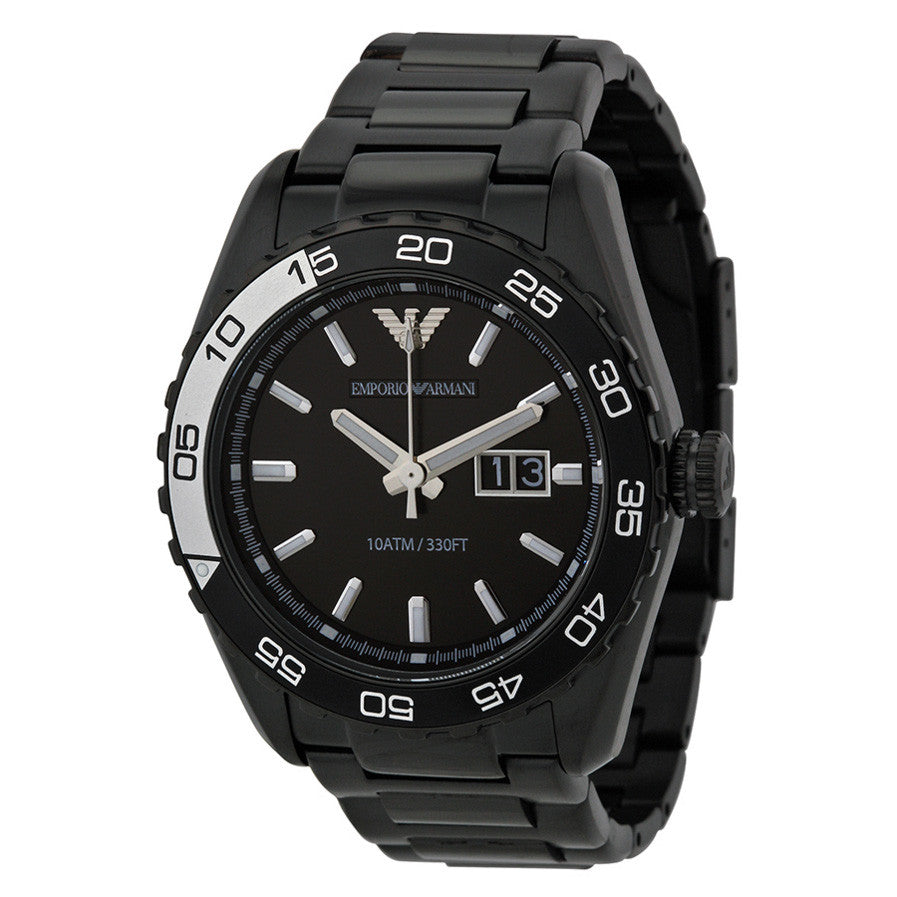 Emporio Sportivo Black Dial Black Ion-plated Men's Watch