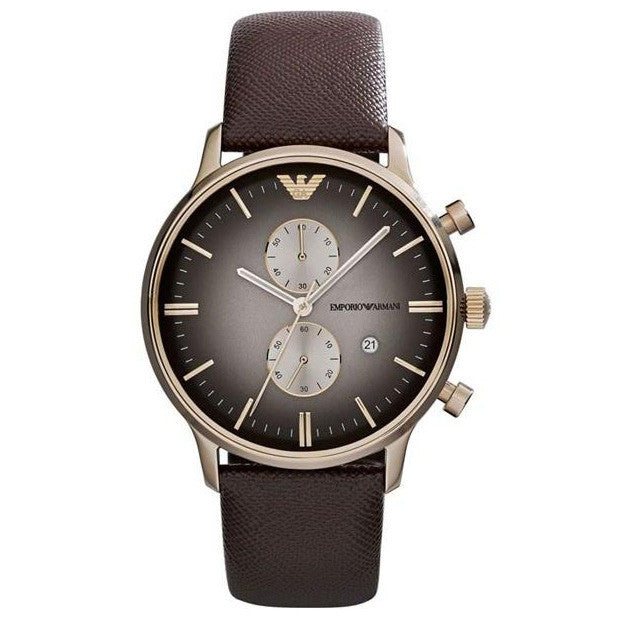 Emporio Classic Chronograph Grey Dial Brown Leather Men's Watch