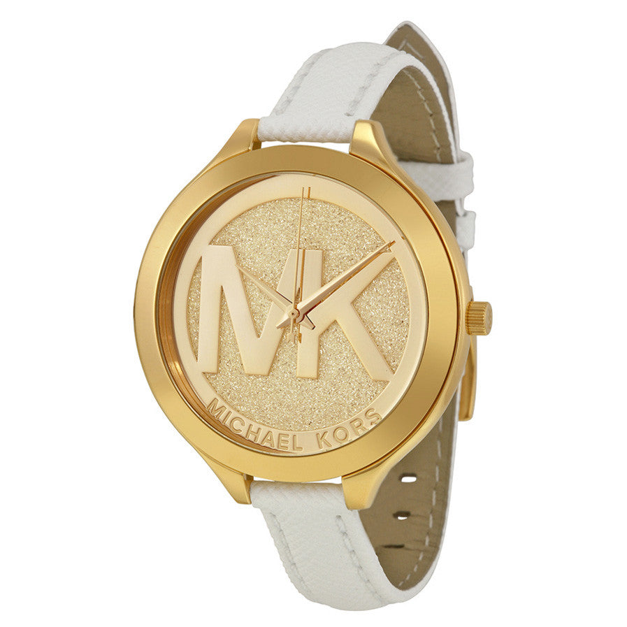 Slim Runway Gold Dial White Leather Ladies Watch