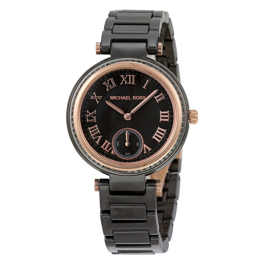 Mini Skylar Black Dial Ceramic Ladies Watch