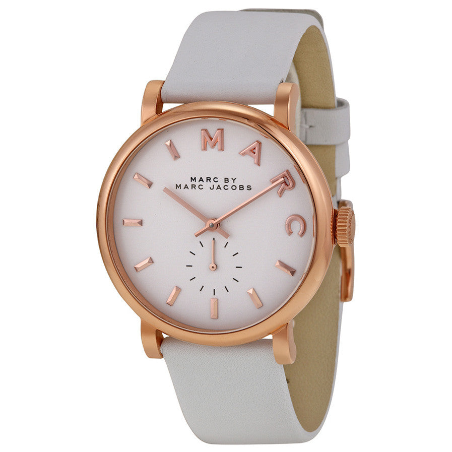 Baker White Dial White Leather Ladies Watch