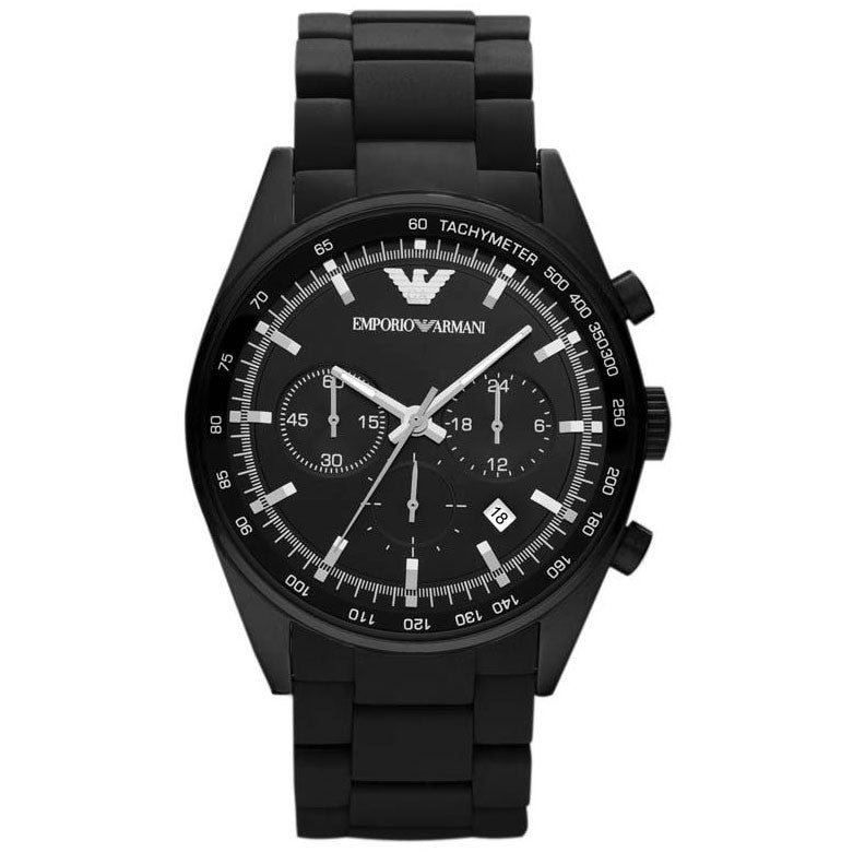 Black Dial Chronograph Black Silicone Men's Watch