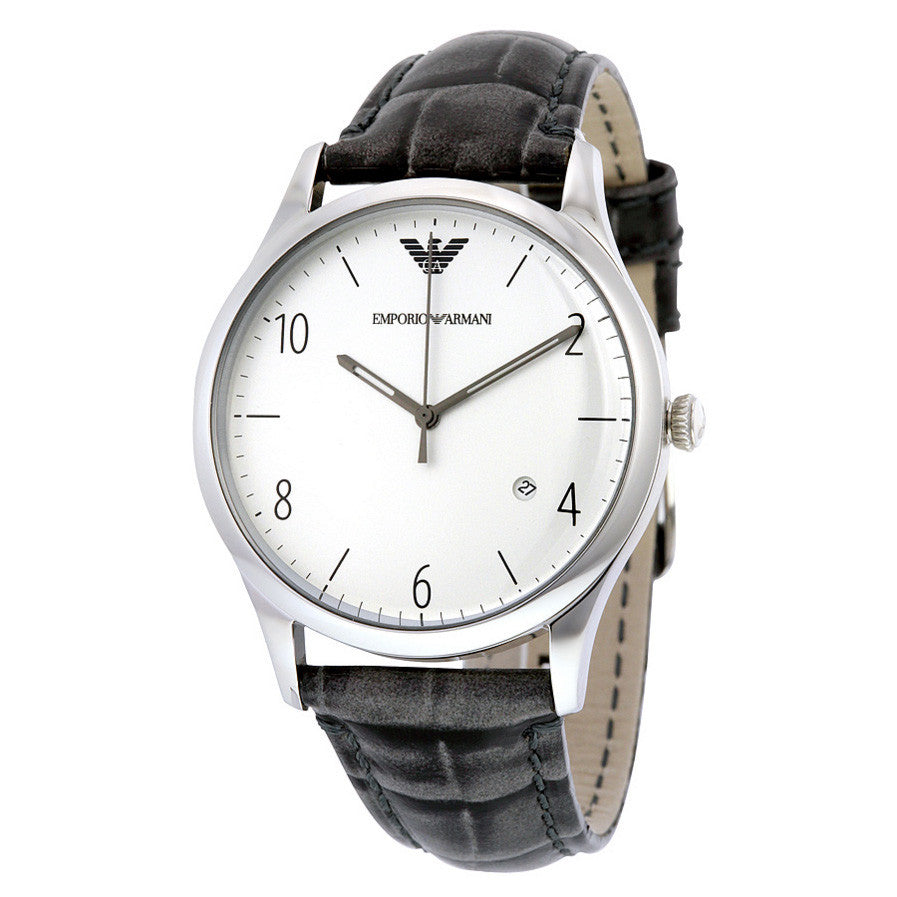 Classic Silver Dial Grey Crocodile Leather Quartz Men's Watch
