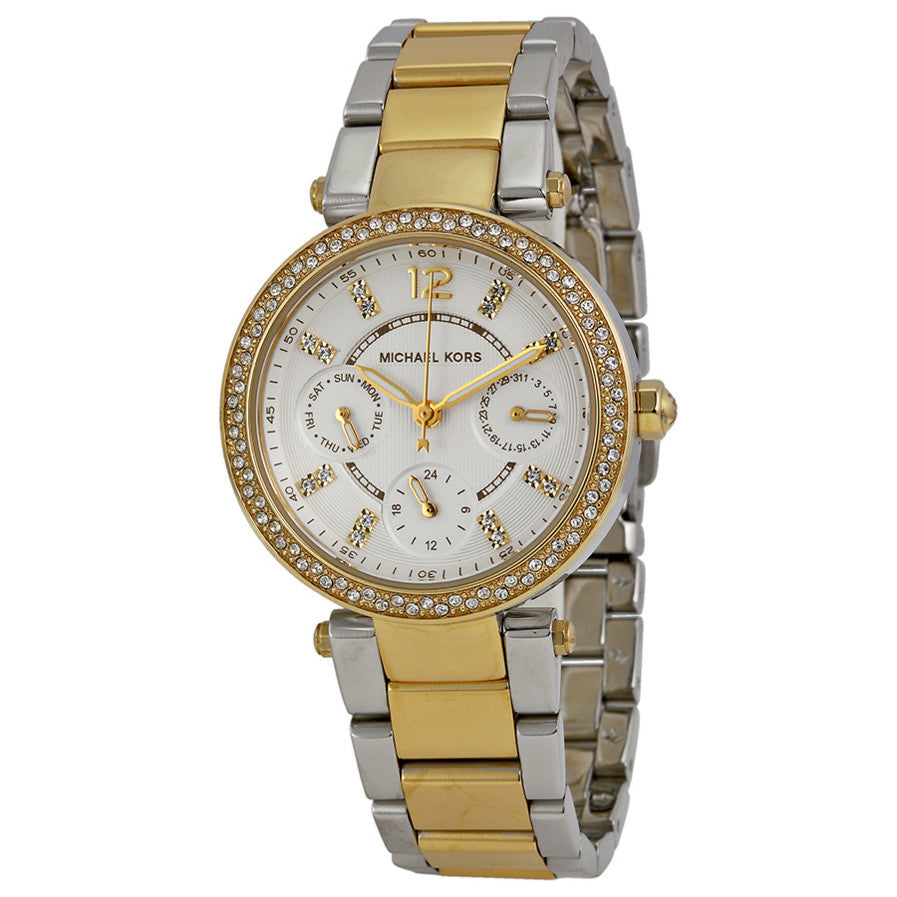 bf19a2b32488 Michael Kors MK6055 Mini Parker White Glitz Dial Steel Ladies Watch ...