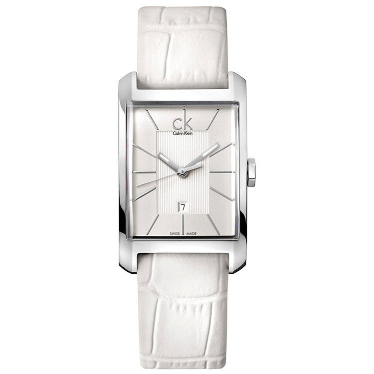 Window White Leather Ladies' Watch