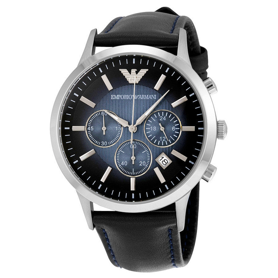 Emporio Classic Chronograph Blue Dial Navy Leather Strap Men's Watch