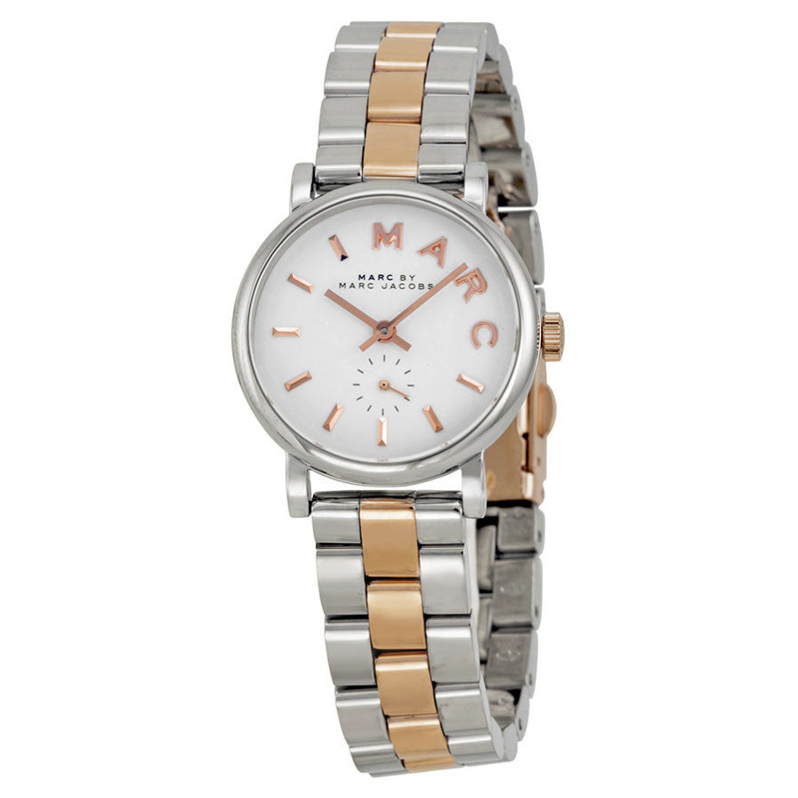 Baker White Dial Two-tone Ladies Watch