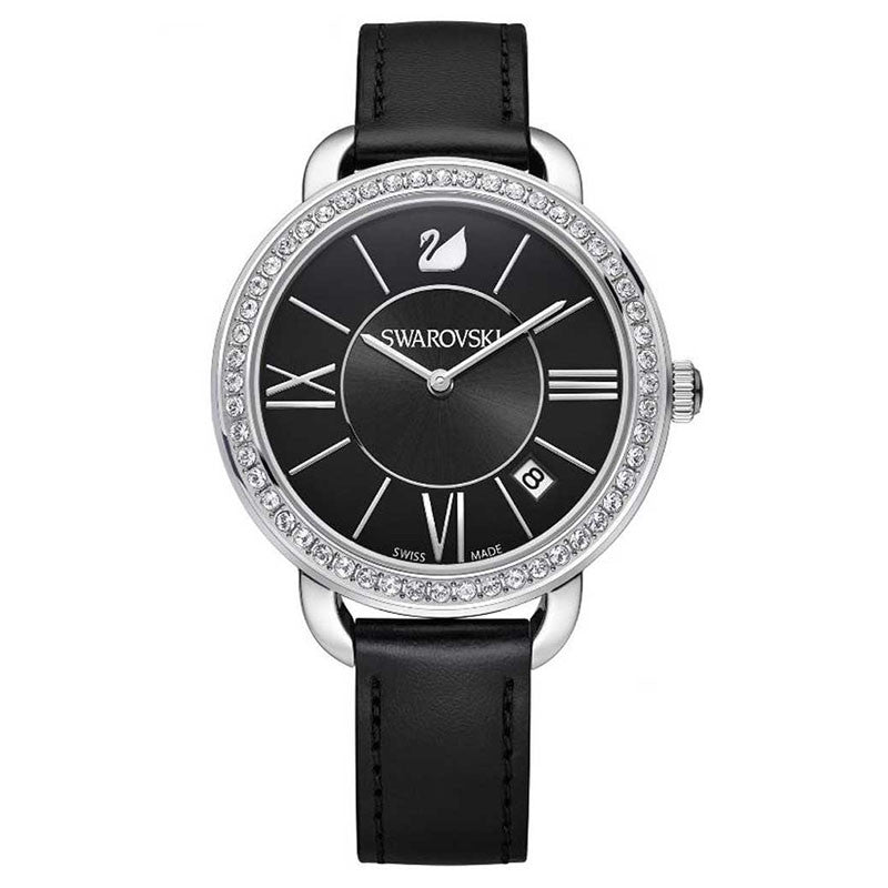Aila Day Black Crystal-paved Bezel Ladies Watch