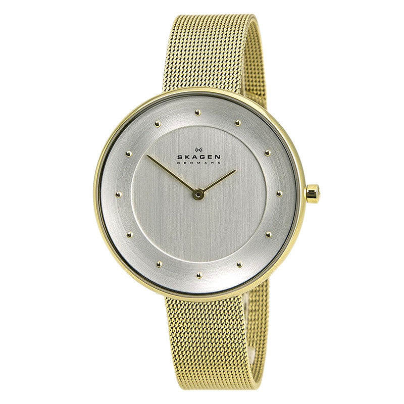Silver Dial Gold-tone Mesh Ladies Watch