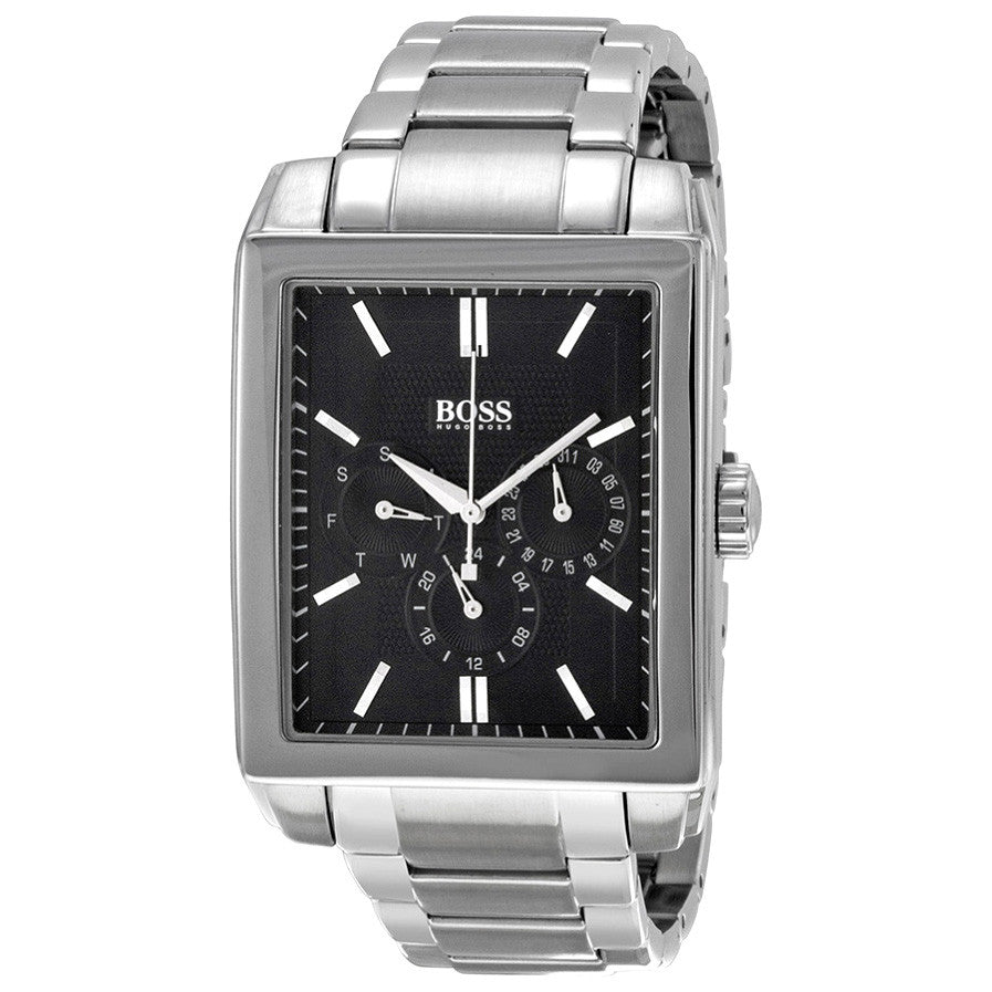 Multi-Function Black Stainless Steel Men's Watch