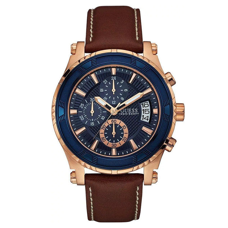Pinnacle Chronograph Blue Dial Rose Gold-tone Men's Watch