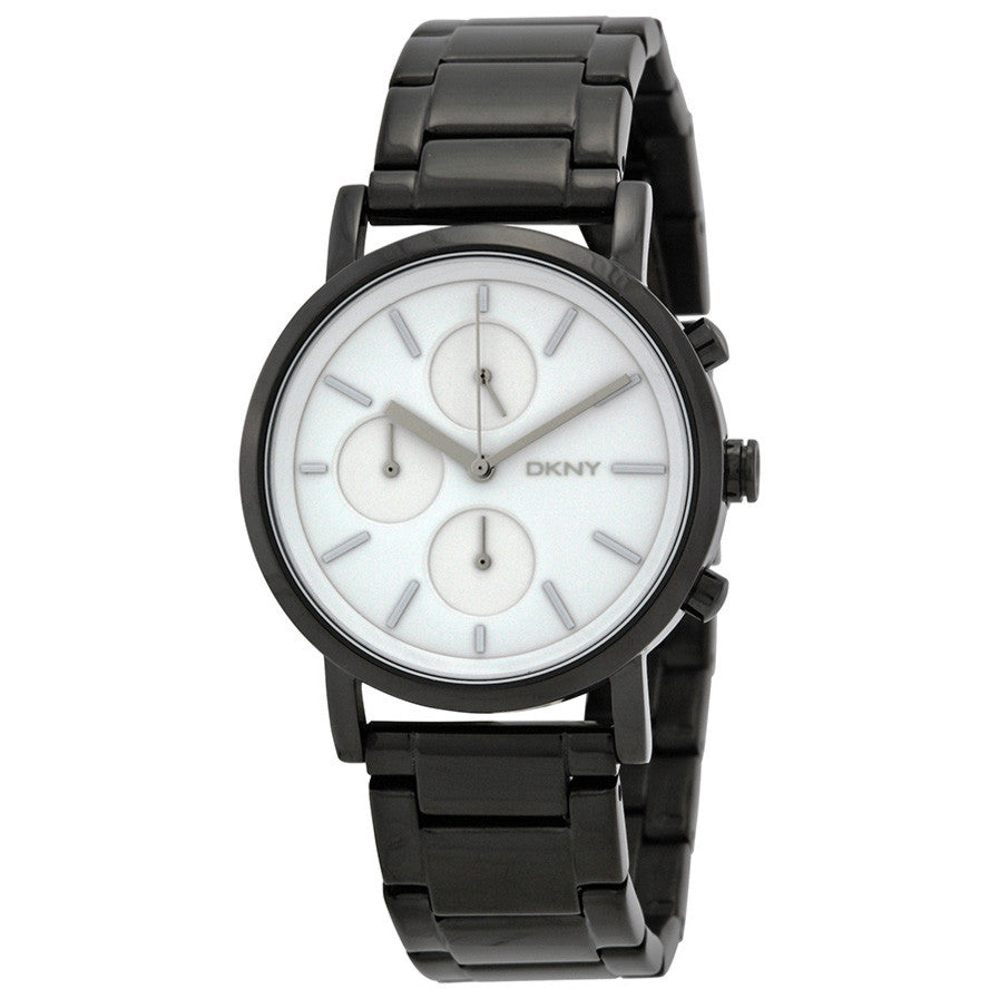 SoHo White Dial Black Ion-plated Ladies Watch