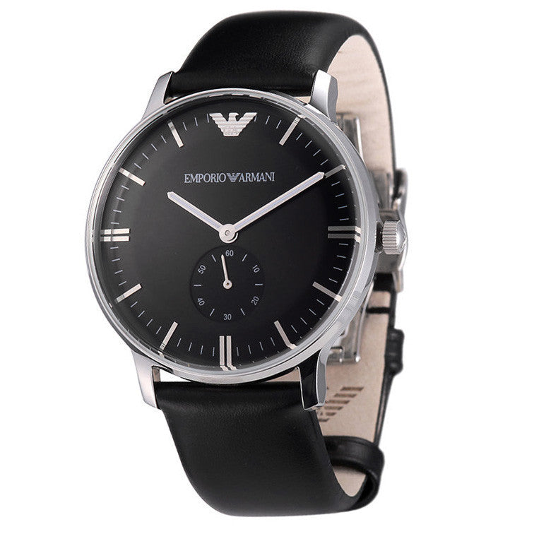 Classic Black Dial Black Leather Men's Watch
