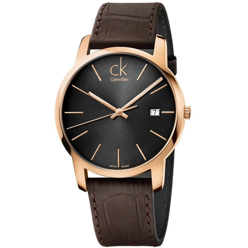 City Date Rose Gold Tone Black Leather Men's Watch