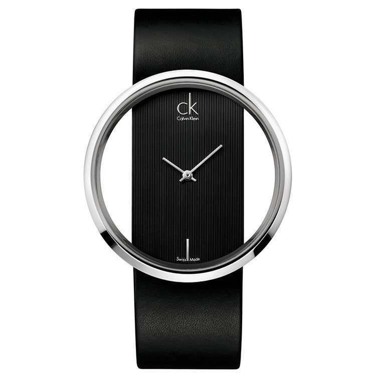 Glam Black Leather Ladies' Watch