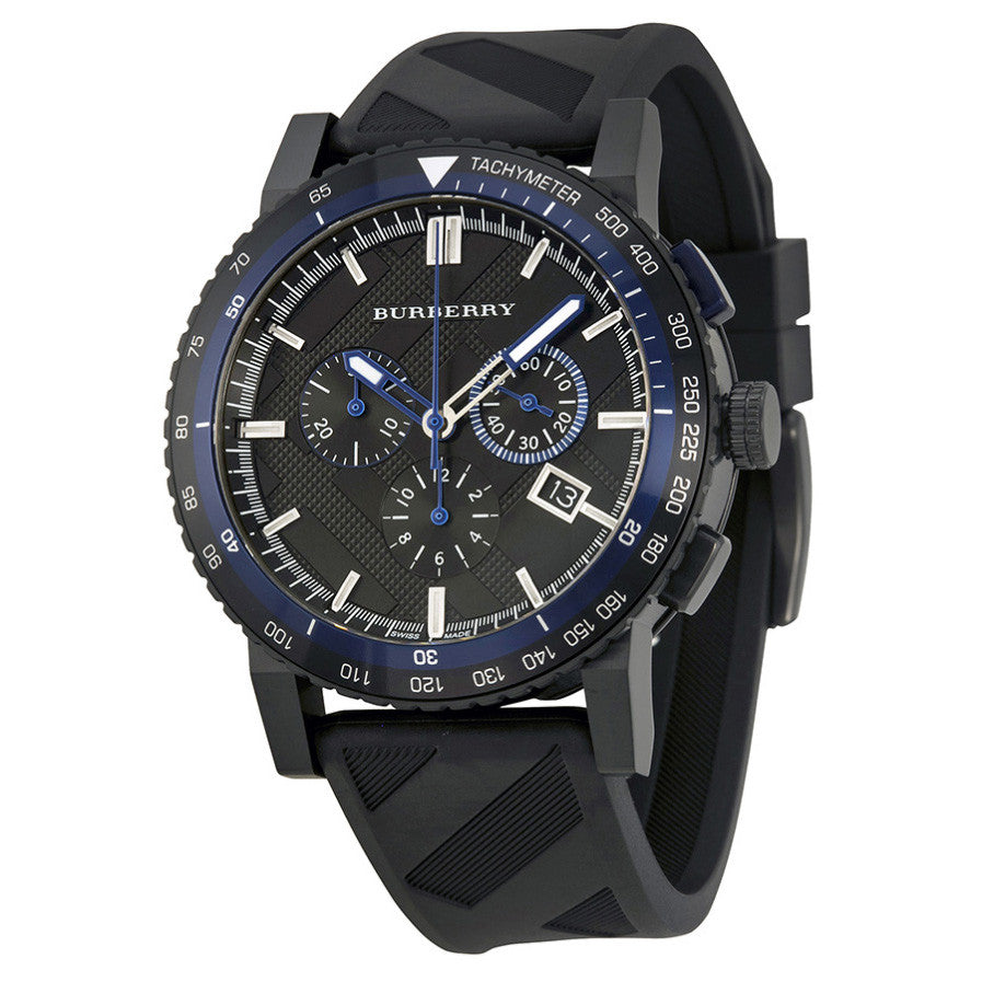 The City Chronograph Black Dial Black Rubber Men's Watch