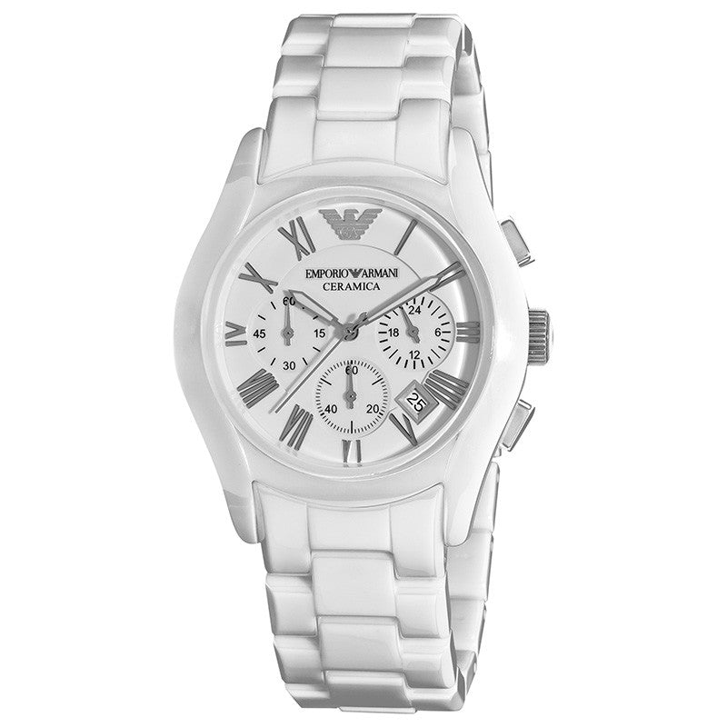 Ceramica Chronograph White Dial White Ceramic Men's Watch