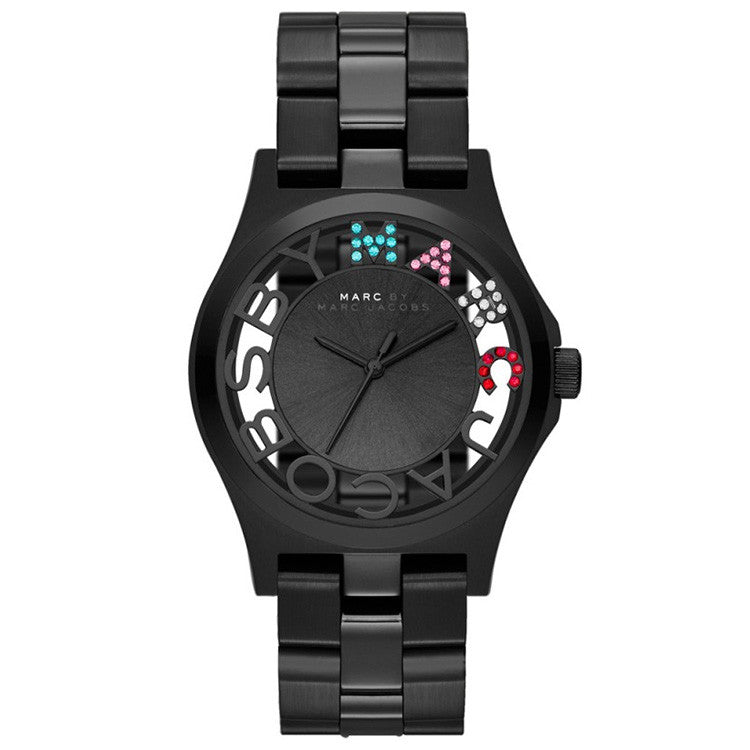 Henry Skeleton Dial Black Ion-plated Steel Ladies Watch