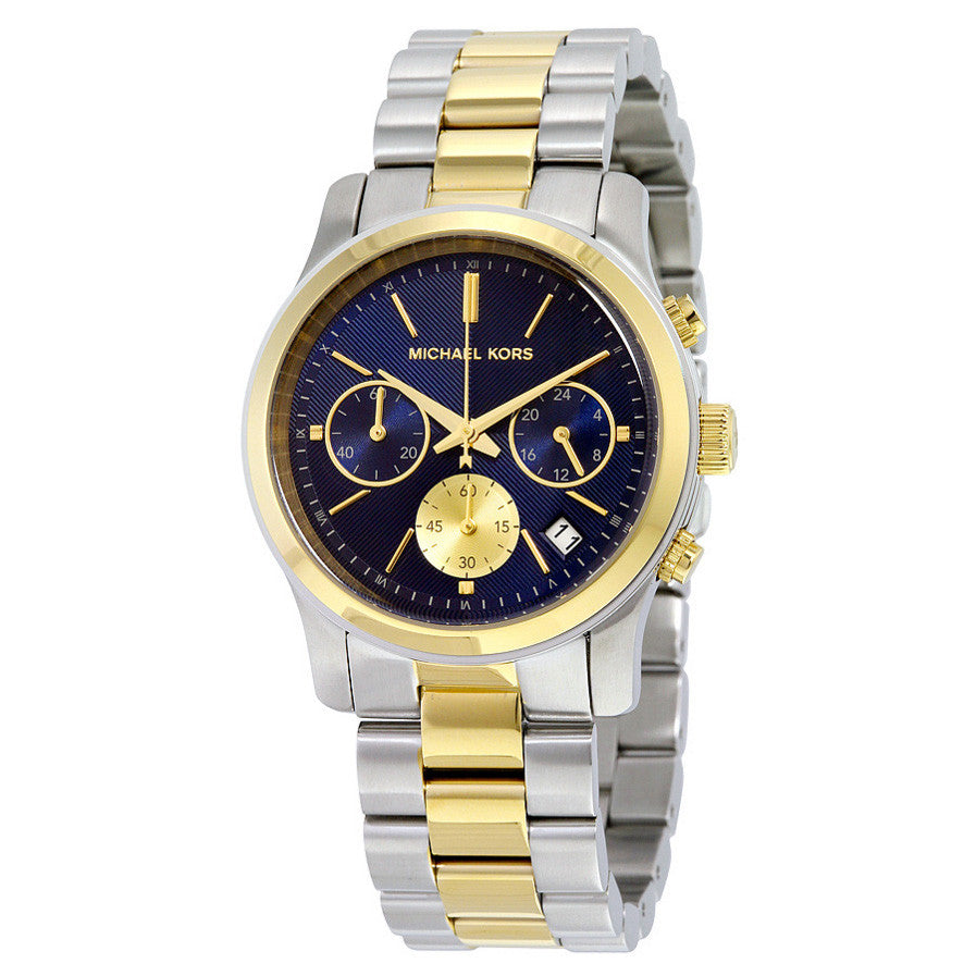 Runway Chronograph Blue Dial Two-tone Ladies Watch