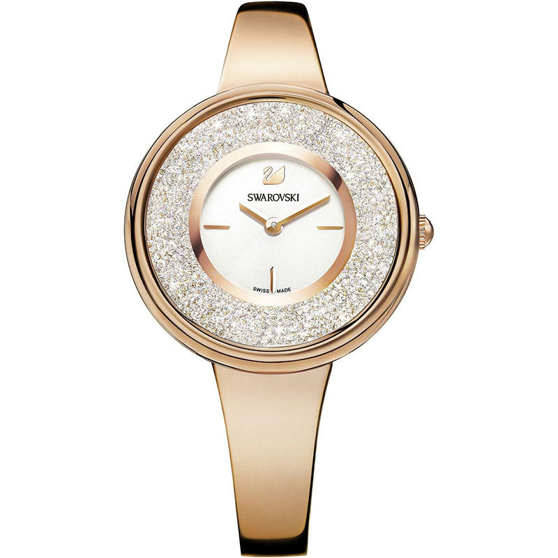 Crystalline White Dial Rose Gold-tone Ladies Watch
