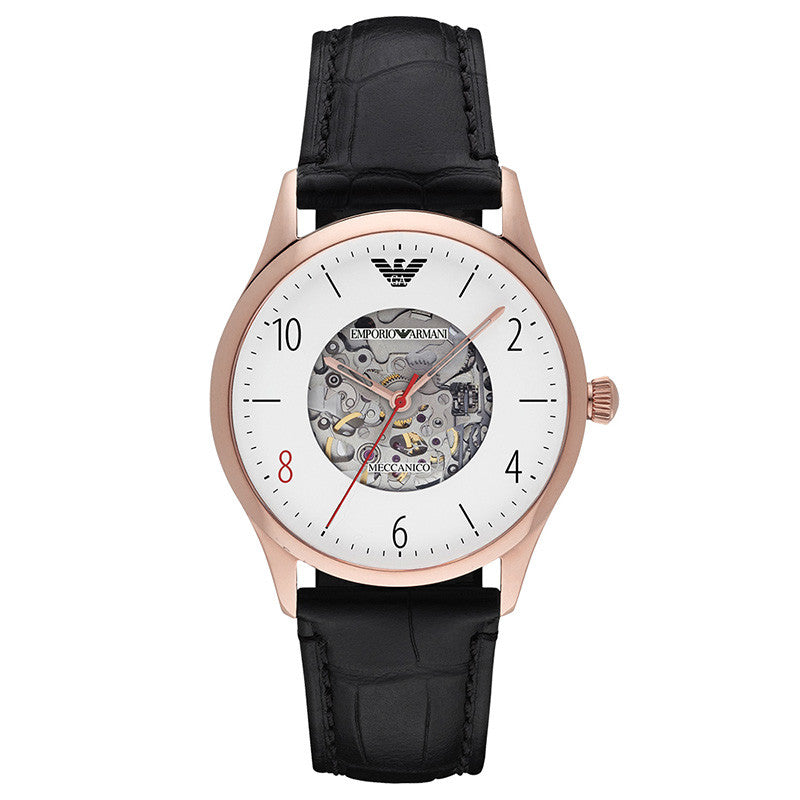 Meccanico Dress White Dial Black Leather Men's Watch