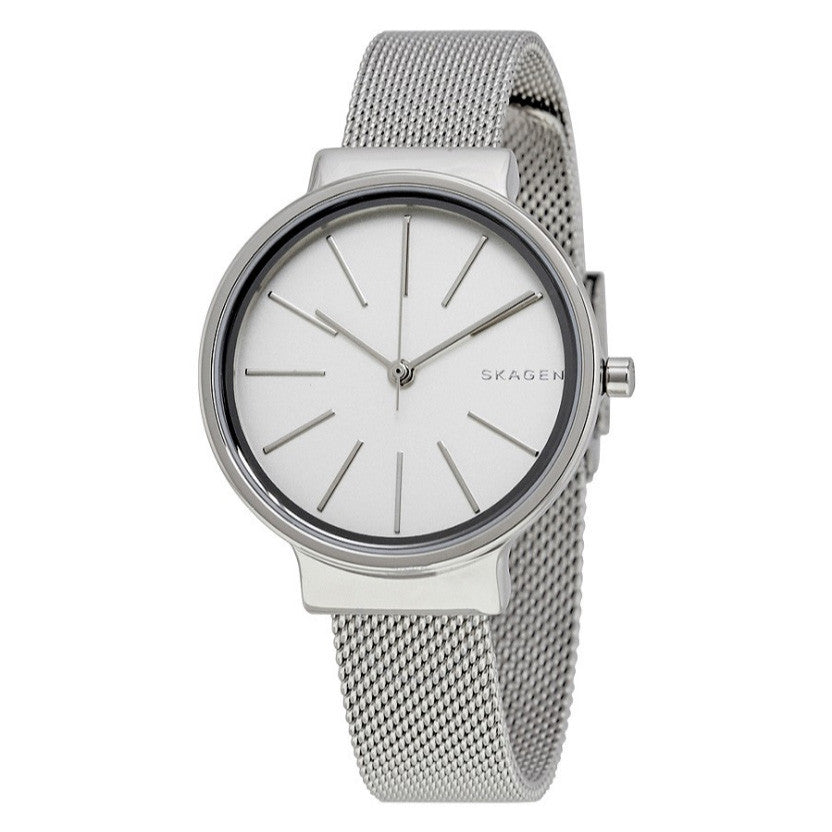 Ancher White Dial Ladies Mesh Watch