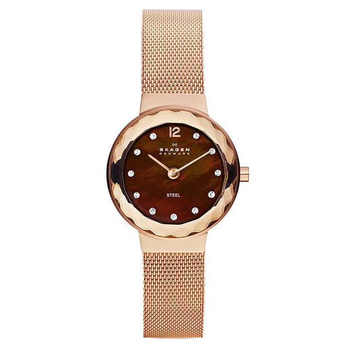 Leonora Brown Mother of Pearl Dial Rose Gold-plated Ladies Watch