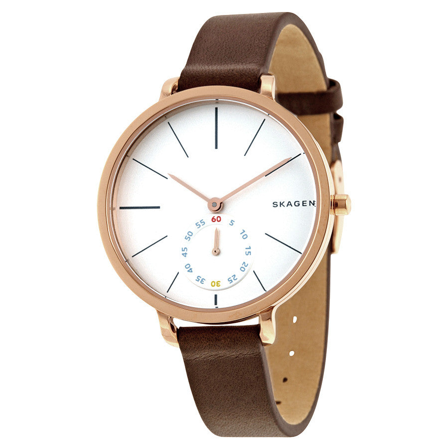 Hagen White Dial Brown Leather Ladies Watch