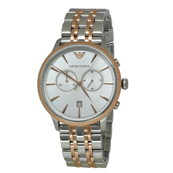 Classic Silver Dial Two-tone Stainless Steel Chronograph Men's Watch