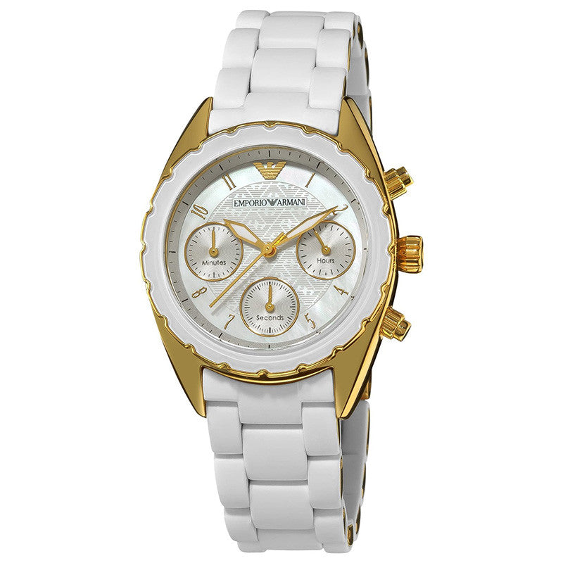 Chronograph Silver Dial White Ladies' Watch