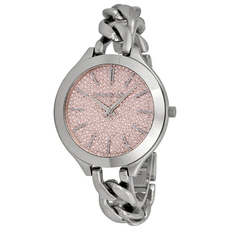Slim Runway Pink Crystal Pave Dial Ladies Watch